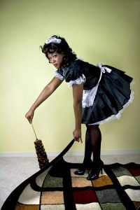 3588625 - maid being sneaky and sweeping under the rug.